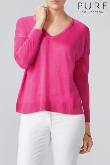 Pure Collection Pink Linen V-Neck Sweater