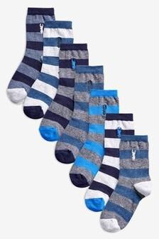 Stag Embroidered Rugby Stripe Socks Seven Pack (Older)