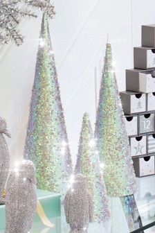 set of 3 iridescent glitter trees - Silver Christmas Decorations