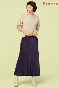 Finery London Blue Navy Alberte Satin Midi Skirt