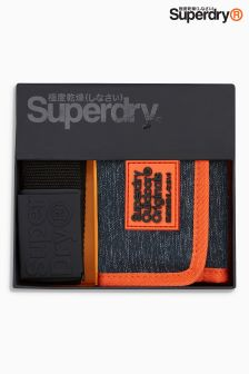 Superdry Black Wallet And Belt Set