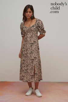 Nobody's Child Zebra Print Midi Dress