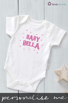 Personalised Pink Baby Name Short Sleeve Bodysuit by Loveabode