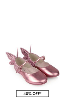 Girls Metallic Pink Leather Chaiara Shoes