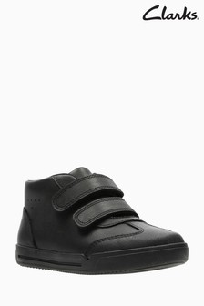Clarks Kids Black Leather Mini Idol Velcro Shoe
