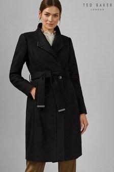 Ted Baker Black Long Belted Wrap Coat