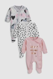 Slogan/Animal Character Sleepsuits Three Pack (0mths-2yrs)