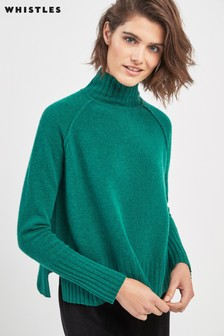 Whistles Green Funnel Neck Wool Knit