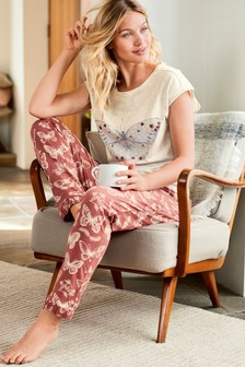 Butterfly Print Cotton Blend Pyjamas