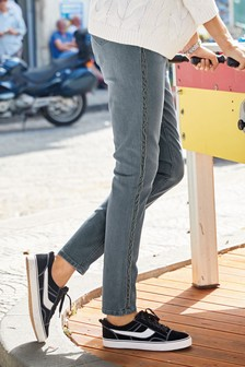 Velvet Side Tape Relaxed Skinny Jeans