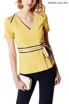 Karen Millen Mustard Spliced Stripe Collection T-Shirt