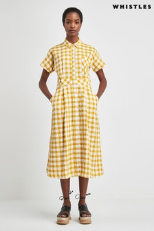 Whistles Yellow Ilana Shirt Dress