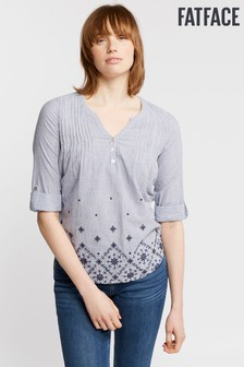 FatFace Blue Poppy Embroidered Stripe Popover Shirt