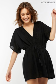 Accessorize Black Lottie Lace Back Kaftan