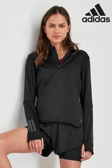 adidas Black 1/2 Zip Long Sleeve Top