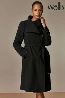Wallis Black Belted Wrap Coat