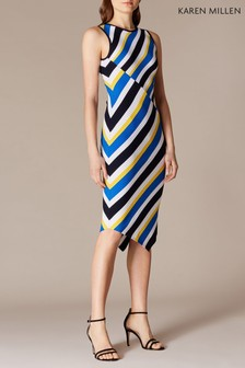 Karen Millen Blue Asymmetric Diagonal Collection Dress