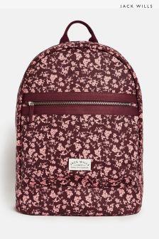 Jack Wills Pink Floral Portbury Backpack