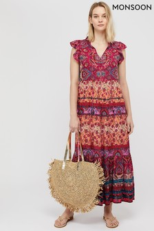 Monsoon Pink Tamalia Print Ecovero™ Maxi Dress