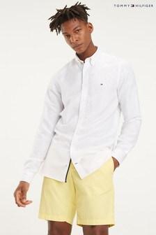 Tommy Hilfiger White Slim Linen Viscose Shirt
