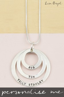 Personalised Sterling Silver Triple Hoop Family Necklace by Lisa Angel