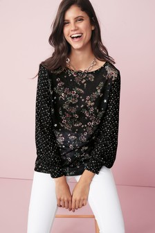 Long Sleeve Print Mix Top