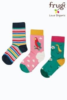 Frugi Pink Parrots Organic Cotton Socks 3 Pack