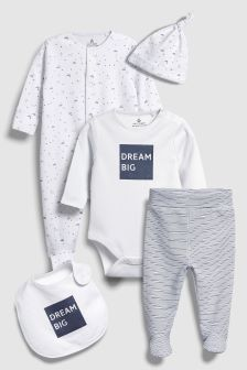 Slogan Five Piece Sleepsuit Set (0-9mths)