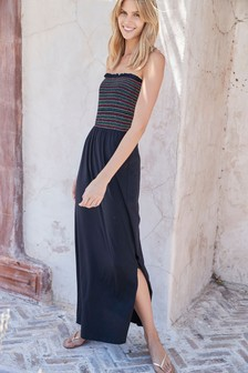 Shirred Boobtube Maxi Dress