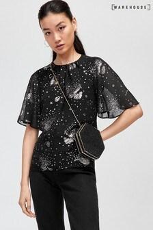 Warehouse Black Angel Sleeve Sparkle Star Top