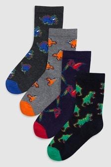 Lot de quatre paires de chaussettes motif dinosaure (Garçon)