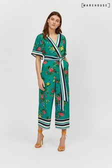Warehouse Green Verity Wrap Jumpsuit