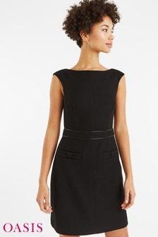 Oasis Kleid mit Zierschleife, schwarz