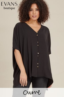 Evans Black Curve Black Double Button Cape