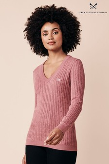 Crew Clothing Company Pink Heritage Crew Clothing Companyable Jumper