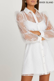 River Island White Organza Shirt Mini Dress