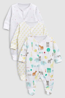 Animal Sleepsuits Three Pack (0-18mths)