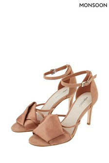 Monsoon Ladies Brown Fawn Fold Vamp Satin Sandal