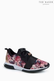 Ted Baker粉色/黑色Cepap花朵圖案運動鞋
