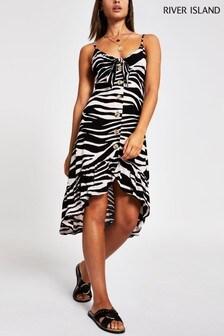 River Island White Zebra Print Button Through Midi Dress