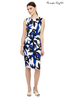 Phase Eight Blue Multi Abela Leaf Print Dress