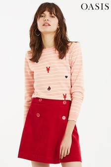 Oasis Pink Ahoy Embroidered Jumper