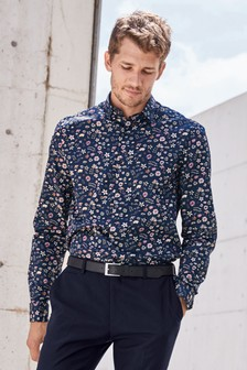Long Sleeve Smart Floral Print Shirt