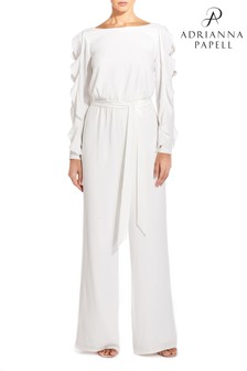 Adrianna Papell White Fancy Crepe Ruffled Jumpsuit