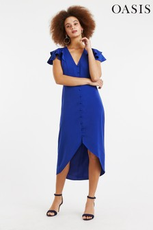 Oasis Blue Button Front Midi Dress