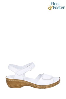 Fleet & Foster White Linden Touch Fastening Sandals