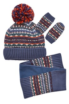 Fairisle Pattern Hat, Scarf And Mittens Three Piece Set (Younger)