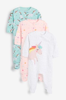 3 Pack Unicorn Star Sleepsuits (0mths-2yrs)
