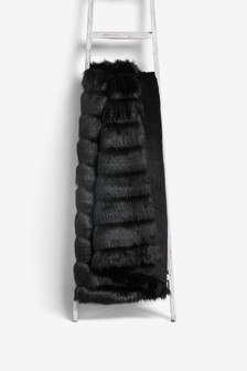 Cut Faux Fur Throw