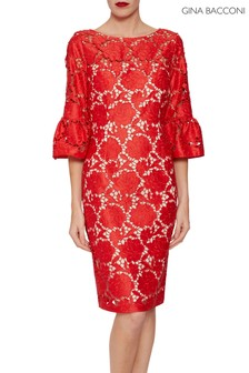 Gina Bacconi Red Genoveva Embroidered Dress